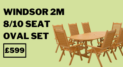 Windsor 2m 8/10 Seat Oval Extending Table Set