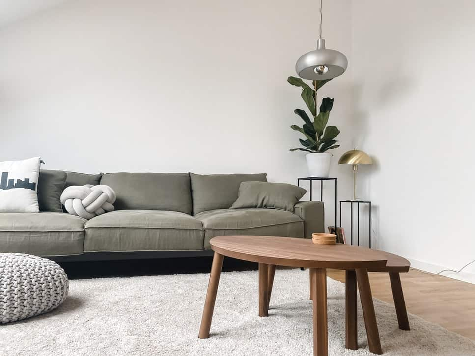 Sofa, coffee table and plant against a white room corner