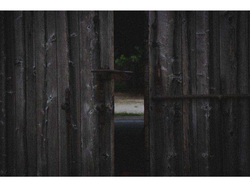 gap in wooden gates