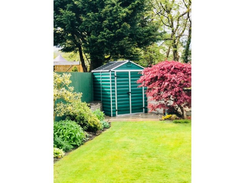 green shed at the bottom of a garden in the corner