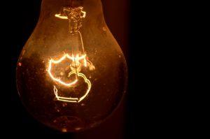 Orange filament lightbulb