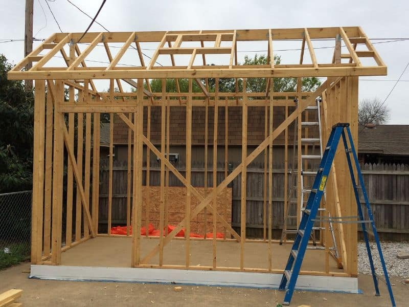 shed wall and roof frame with no cladding and blue ladder