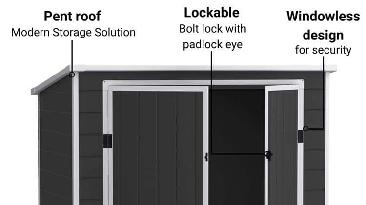 top of a plastic shed infographic with arrows point to pent roof and lockable doors