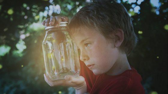 A Child Looking Through a Jar of Fireflies