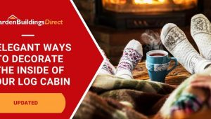 5 Elegant Ways to Decorate A Log Cabin Interior with feet wrapped in blankets and socks in front of a fire