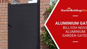 BillyOh Nova full privacy garden gate in black aluminium with Garden Buildings Direct logo and banner