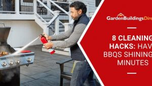 8 Cleaning Hacks for BBQs with man extinguishing BBQ